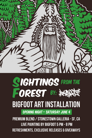 "Bigfoot's ""Sightings From The Forest"" -installation at Premium Blend"