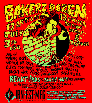 "Bearturds ""Bakerz Dozen"" group Skate deck art show"